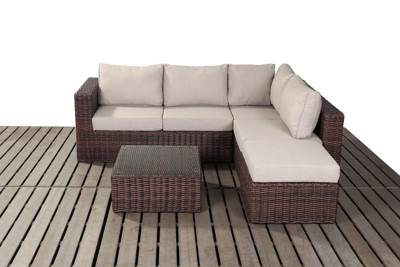 Brown corner sofa set with coffee table right hand facing rattan