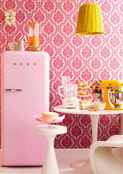 Would You Put Wallpaper In The Kitchen Pink Fridge Retro Pink Smeg
