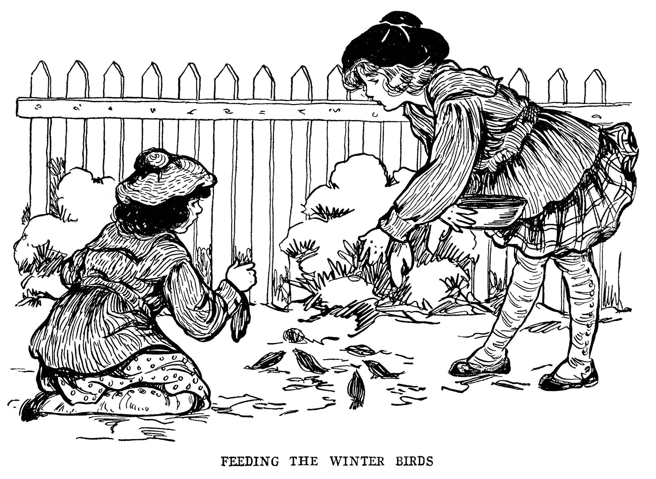 Vintage Bird Clip Art Black And White Clipart Feeding Birds Illustration Free Graphics Victorian Girls Printable