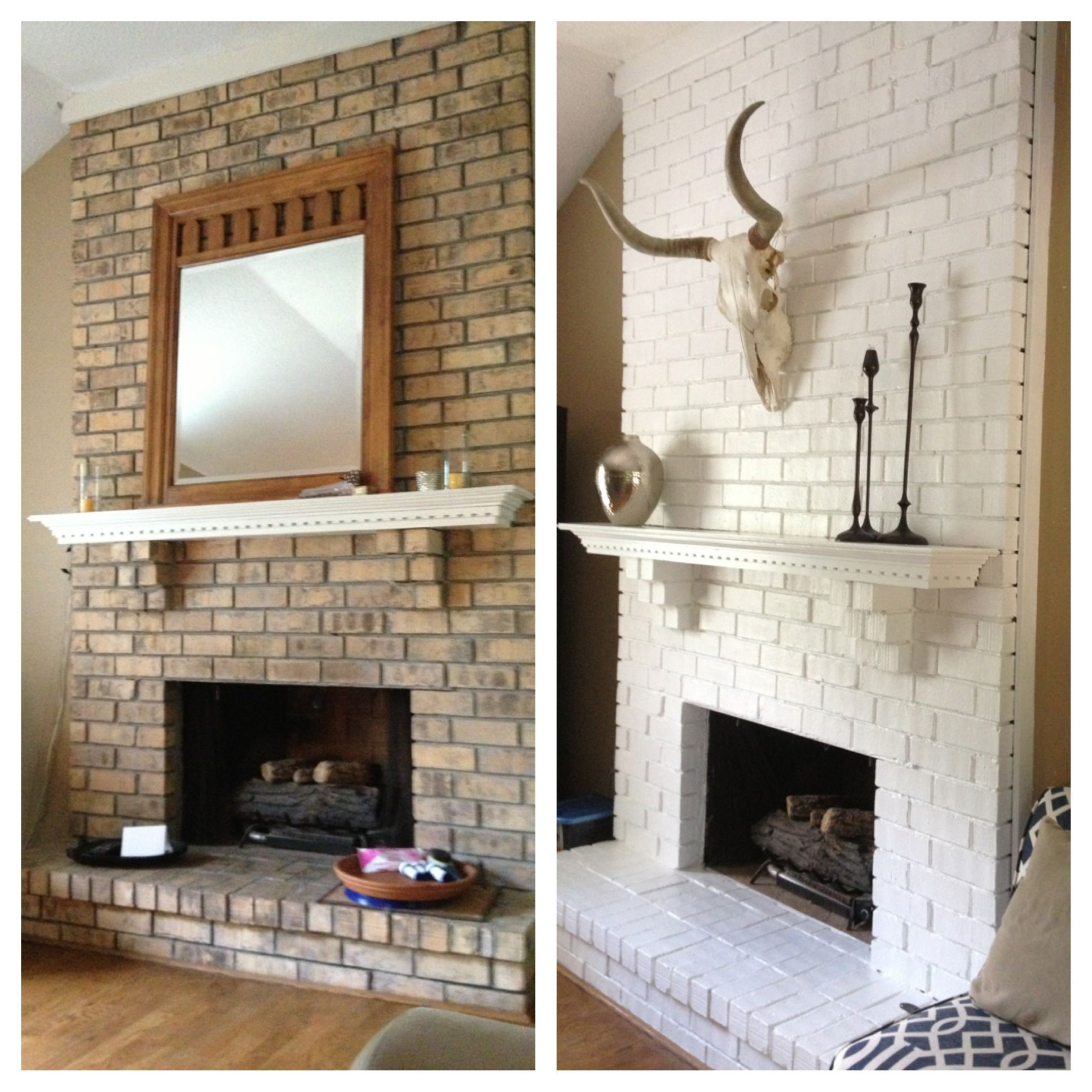 Brick fireplace painted white                                                                                                                                                                                 More