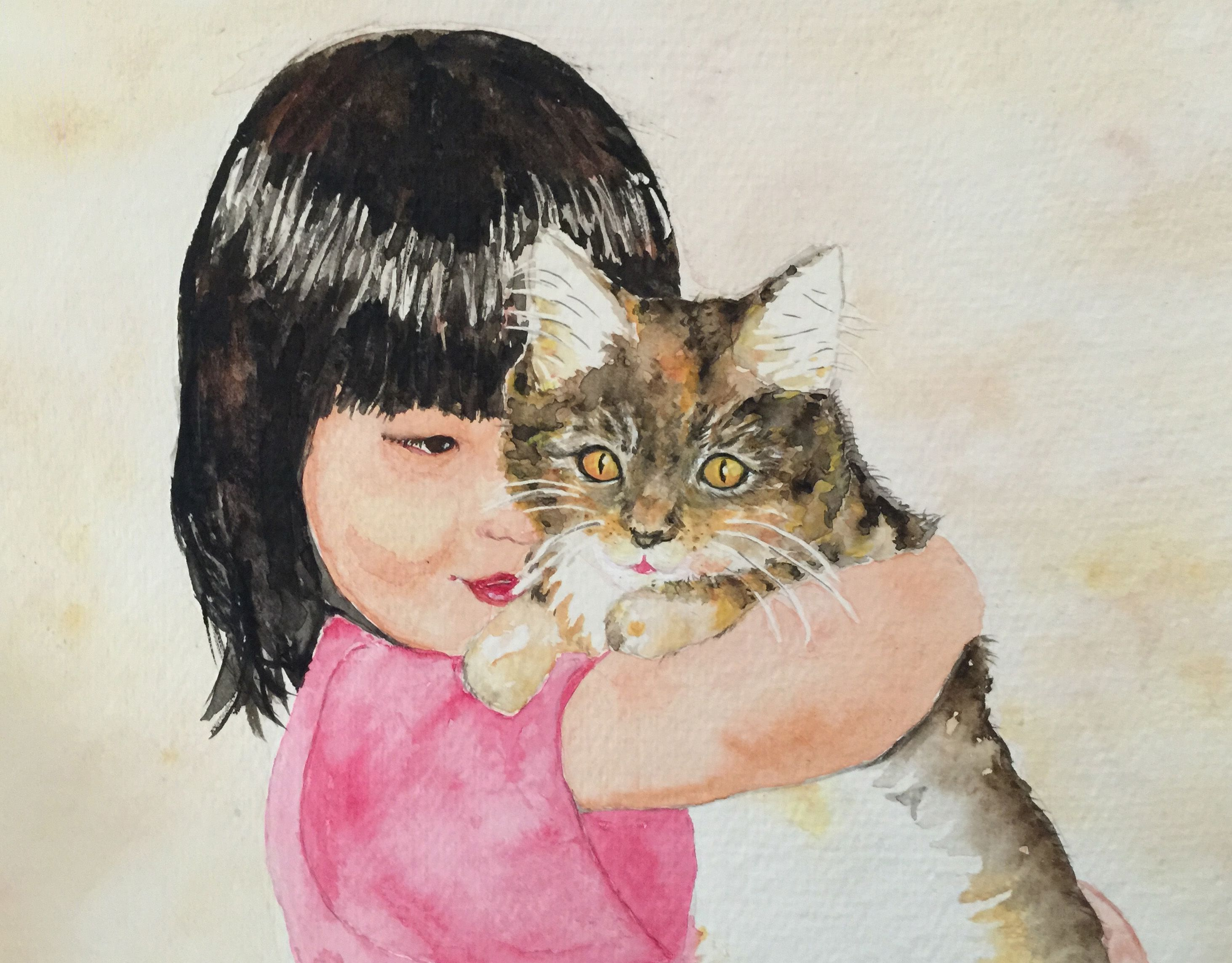 Watercolor of my daughter and cat long ago