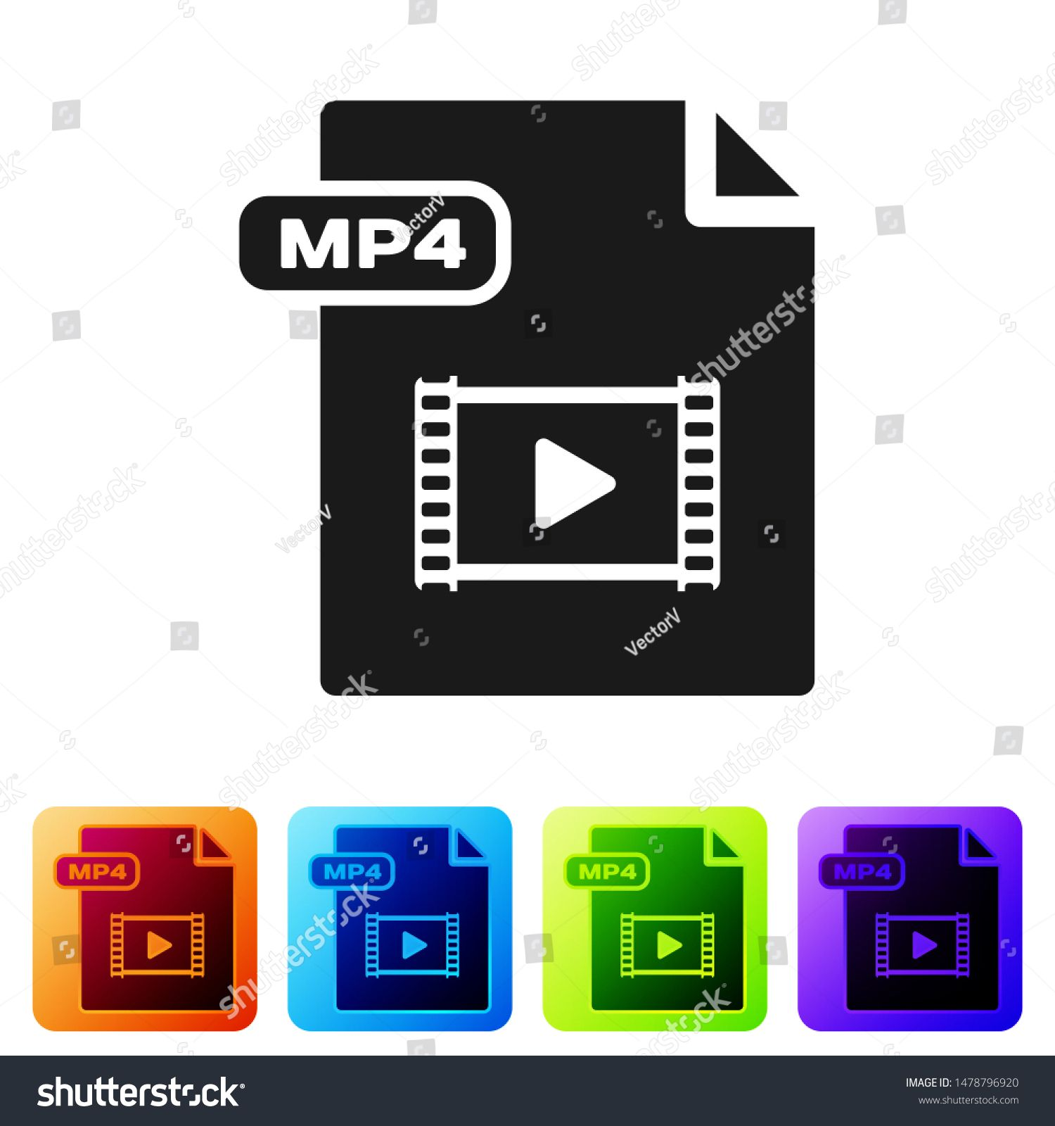 Black MP4 file document. Download mp4 button icon isolated