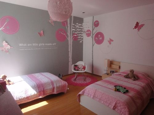 Love the pink and grey.  Maybe for a big girl room.