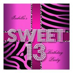 Sweet 13 13th Birthday Zebra Cow Pink Black Card 13th birthday