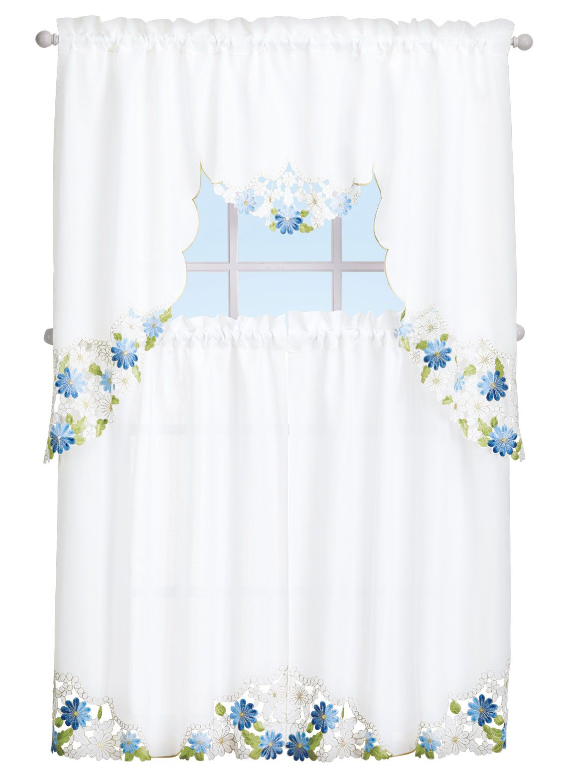 Embroidered curtain set with cutwork accents beautiful curtains