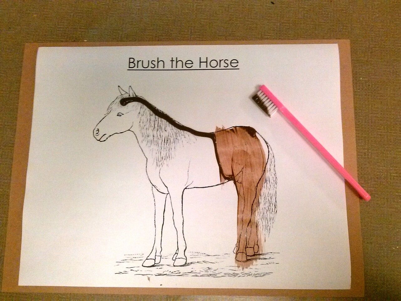 Horse arts and crafts - Preschool Farm Animals Theme Brush The Horse Art Activity