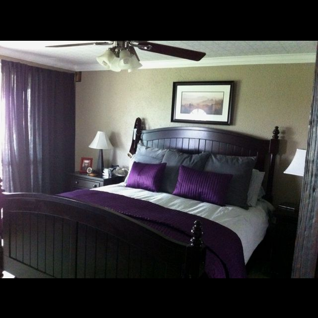 Bedroom Decorating Ideas Ikea Dark Purple Accent Wall Bedroom Interior Design Small Bedroom For Kids Cowhide Bedroom Bench: Purple And Grey :) Our New Bed Decor From Ikea. My Mom's