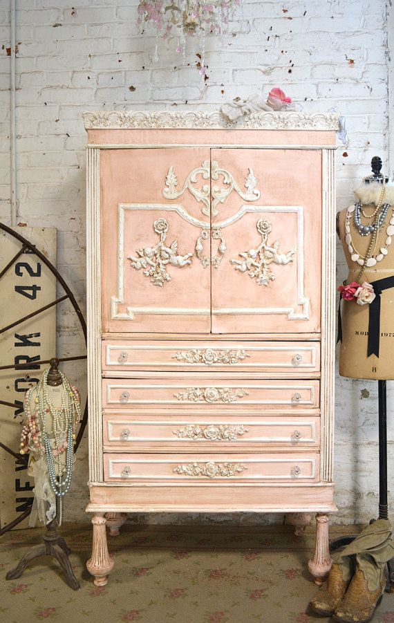 Painted cottage chic shabby romantic french armoire am157 for Where can i buy vintage furniture