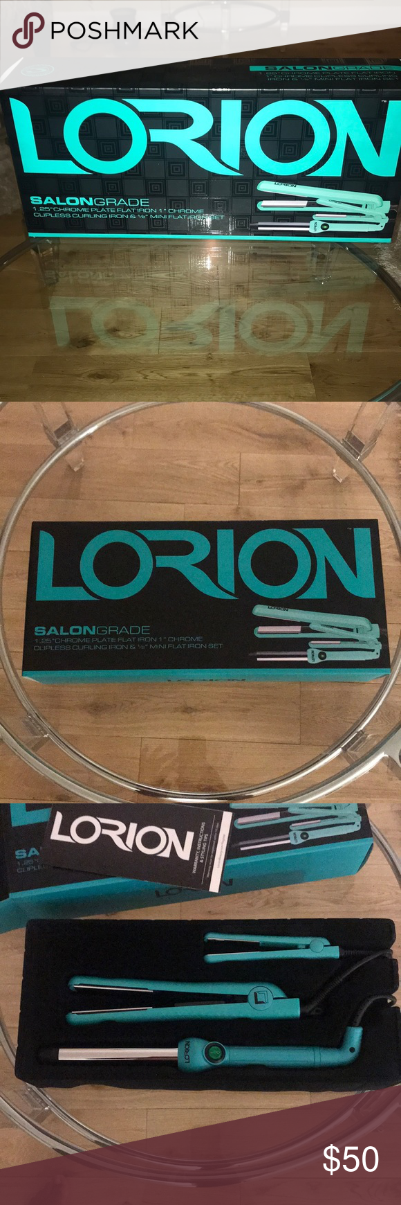 Lotion SalonGrade Flat Irons and Curling Iron Set 1.25 inch chrome plate flat iron, 1 inch chrome clip less curling iron and 1/2 inch mini flat iron set.  Never used.  Just opened for pic taking. Other #flatironwaves