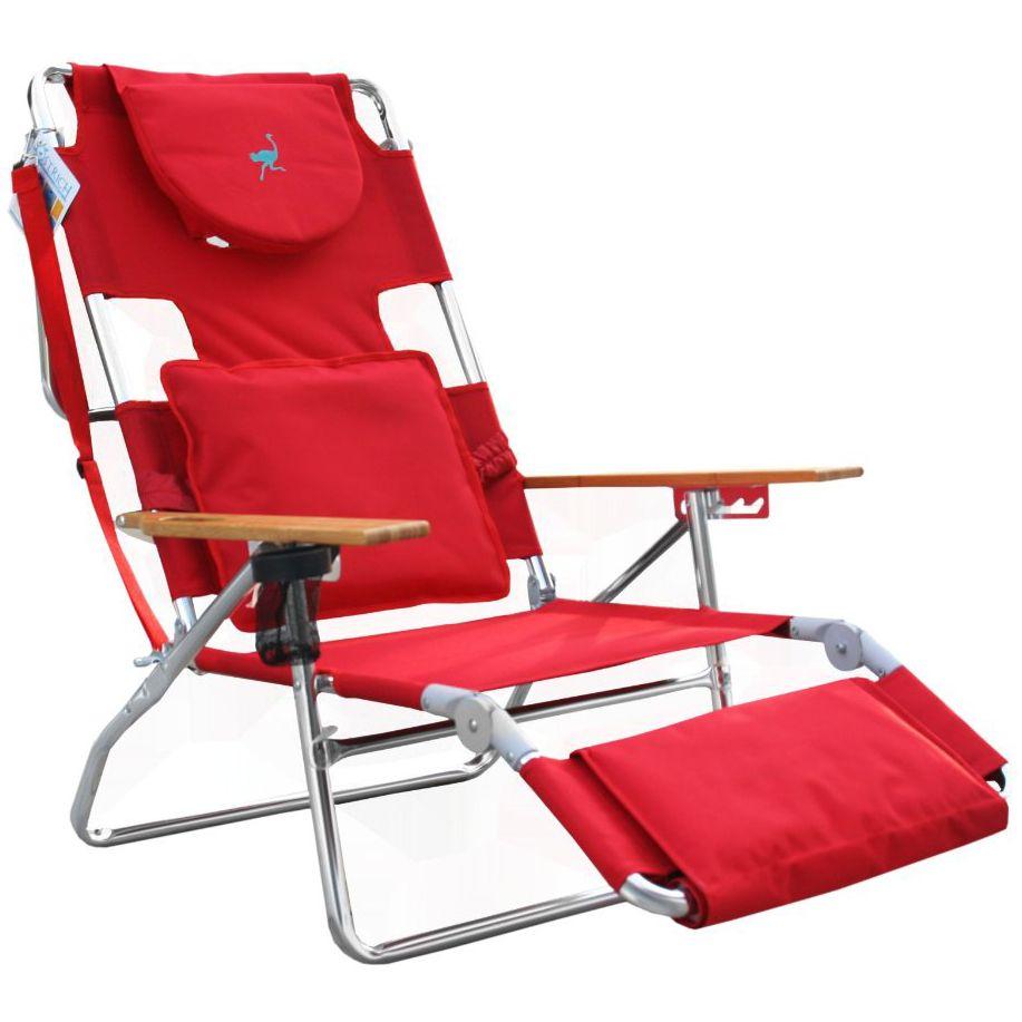 Ostrich deluxe 3n1 beach chair lounger red beach