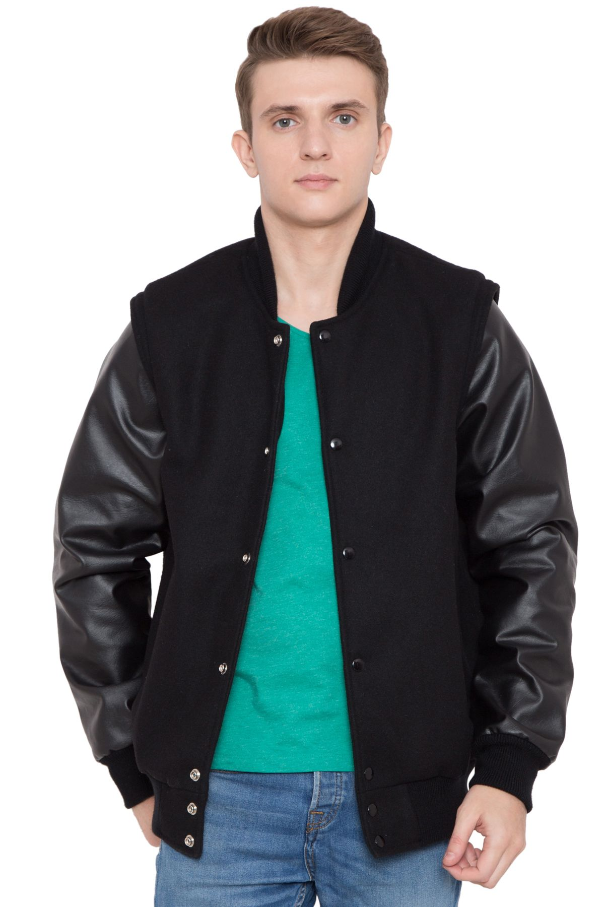 Leather sleeve varsity jackets are custom made, you get to