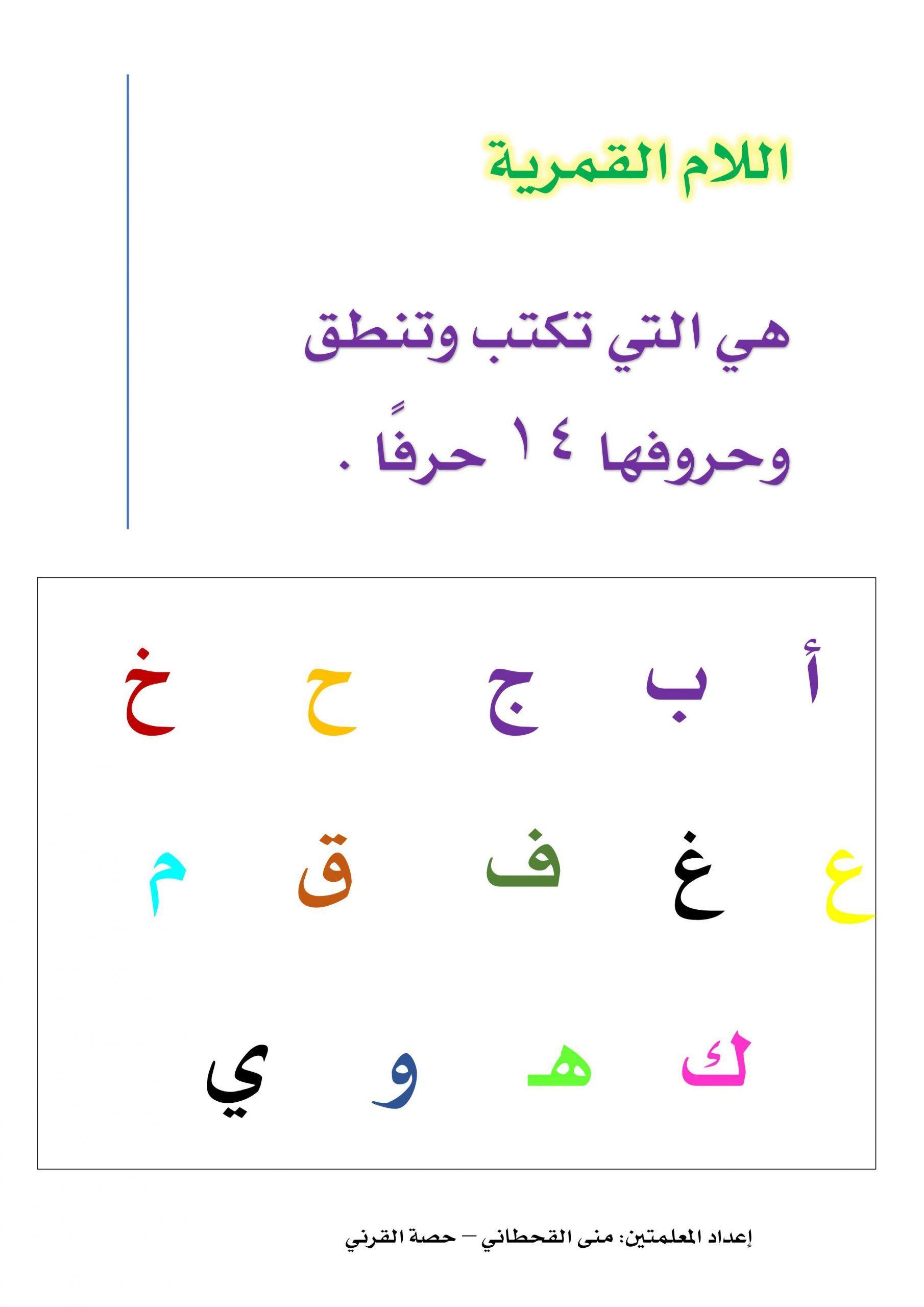 شرح كلمات اللام القمرية للصف الاول والثاني مادة اللغة العربية Arabic Quotes Quotes Math