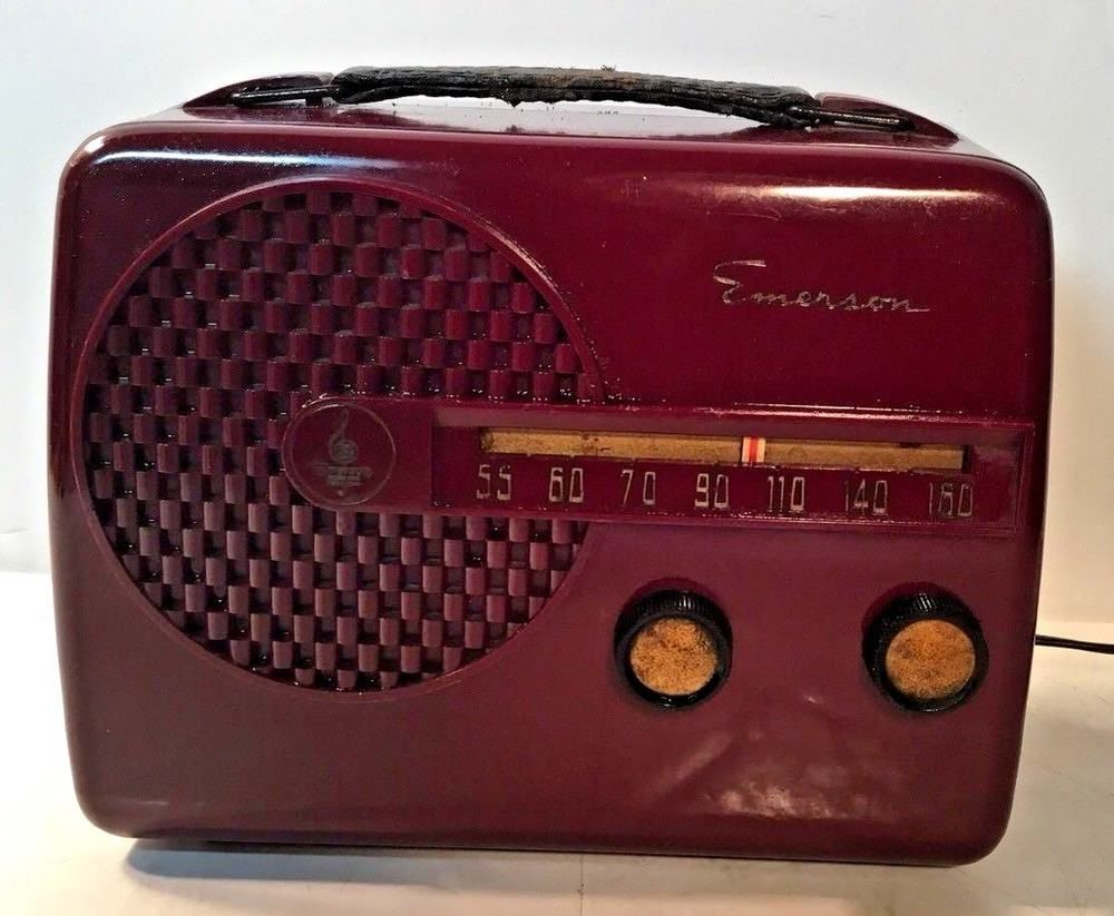 Vintage Emerson Portable Tube Radio Model 646 For Parts Restore Emerson Radio Antique Radio Vintage Radio