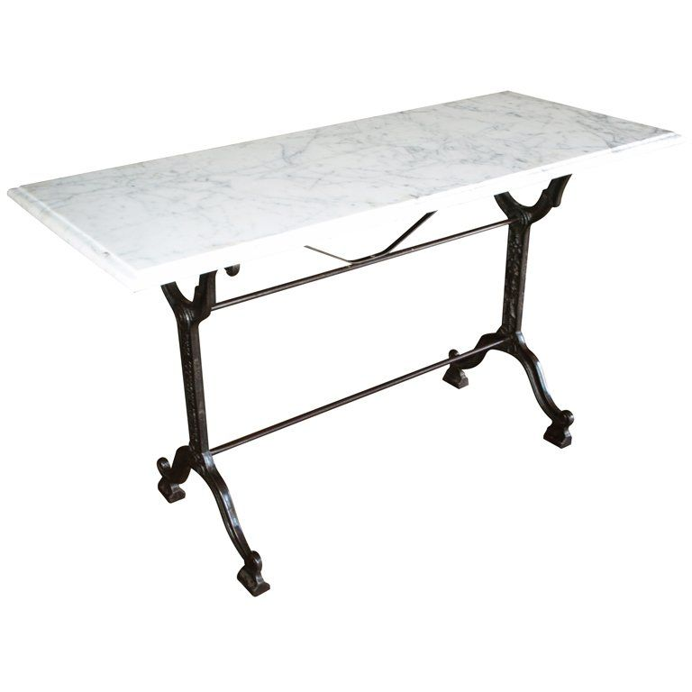 Delightful French Bistro Console Table With Cast Iron Base And Marble Top At 1stdibs