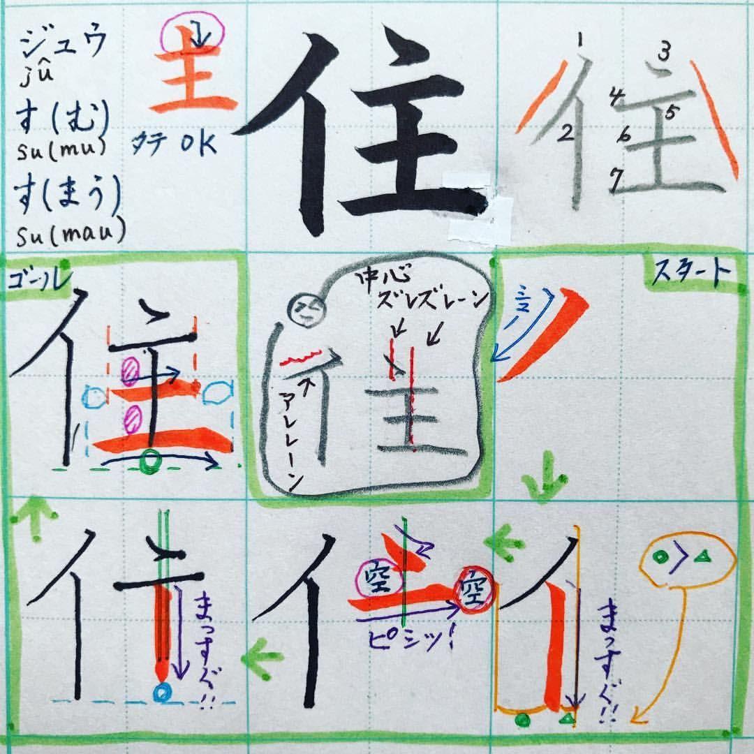 小3で習う漢字 住 ジュウ す む す まう イ 主 イ にんべんは カタカナのイと同じだね 隣の主が大きいから スペース左寄りにしておくよ 主 は3画目のヽを中心にして書いていくから ヽの置く場所は大事だね 4画目のヨコ線は 上のヽ
