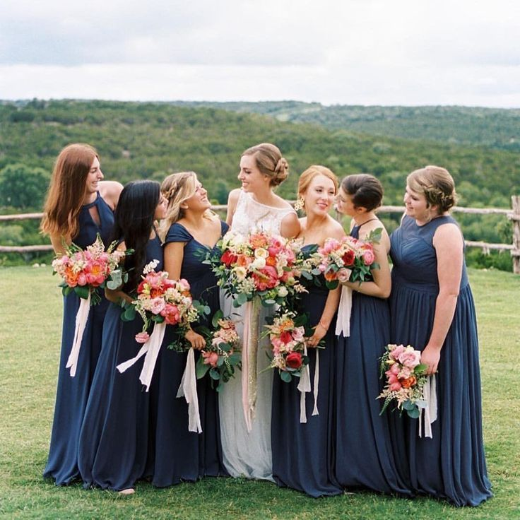 Navy Mismatched Bridesmaids Dresses With Bright Rustic Bouquets Summer Wedd Bright Bridesmaid Dresses Summer Bridesmaid Dresses Navy Blue Bridesmaid Dresses