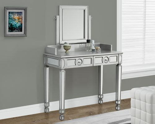 Monarch Specialties Vanity With 2 Drawers - Silver, 36 TV stands - Bedroom Vanity Table