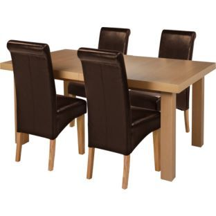 Buy Wickham Oak Dining Table & 4 Chocolate Leather Effect Chairs