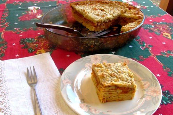 Pastitsio [Vegan]  This is a vegan version of a traditional Greek dish with oven-baked pasta!