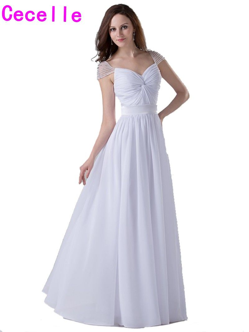 Click to buy ucuc white long formal bridesmaids dresses cap