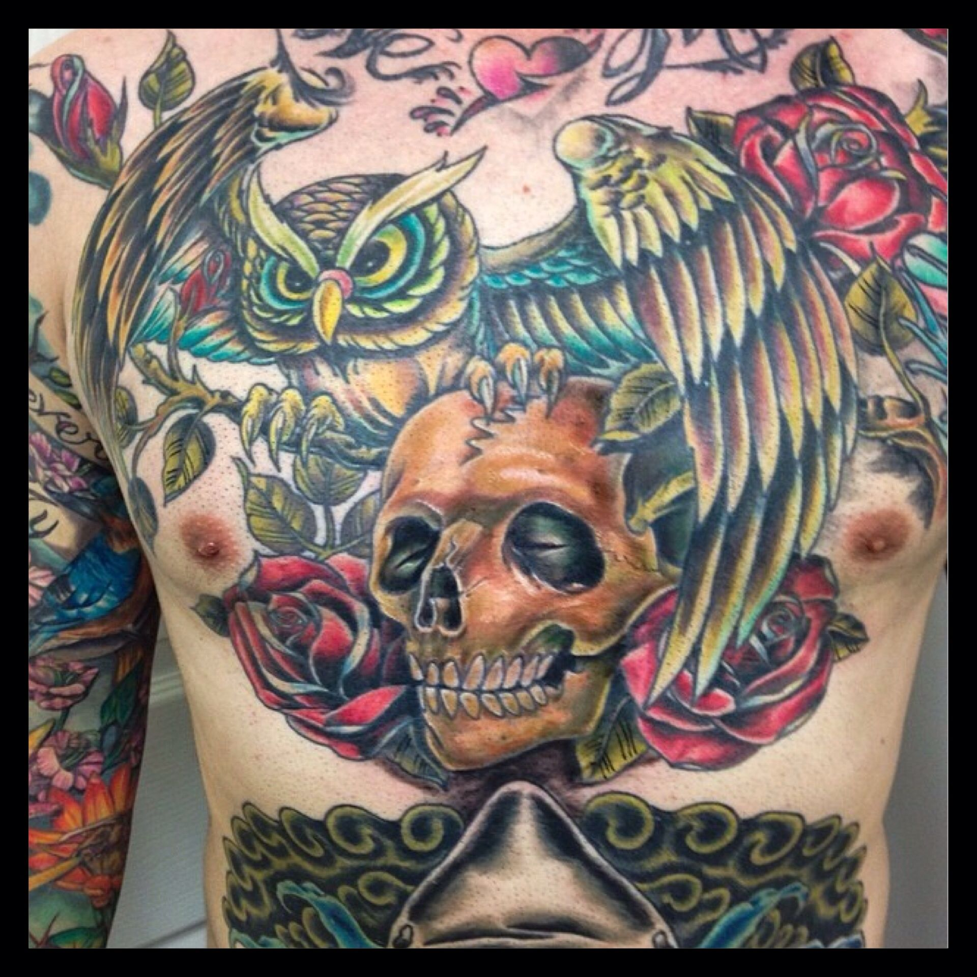 Owl, Skull & Roses Full Color Chest Piece Tattoo By Alex