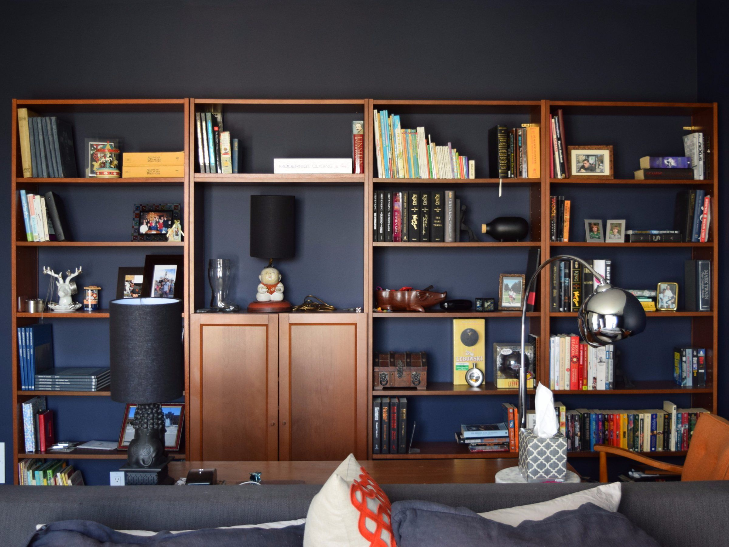 on simple arch pin trim bookcase built with fancy in bookcases sides and