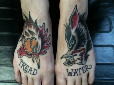 traditionally sailors would tattoo a pig and rooster on their feet