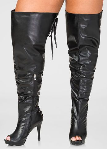 1e9d418b7f3 Lace-Up Over The Knee Boots - Wide Calf