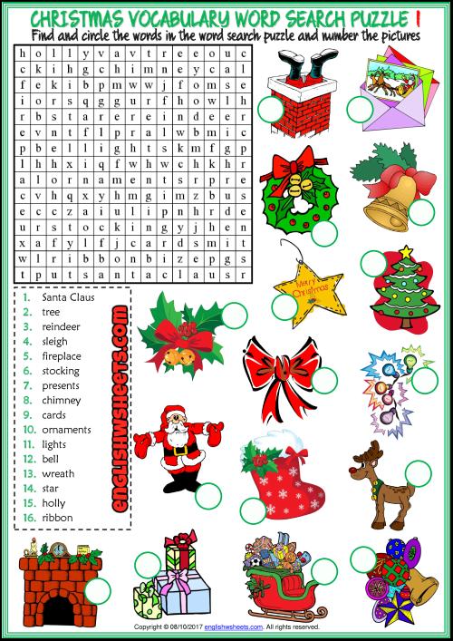 Christmas ESL Printable Vocabulary Worksheets Christmas