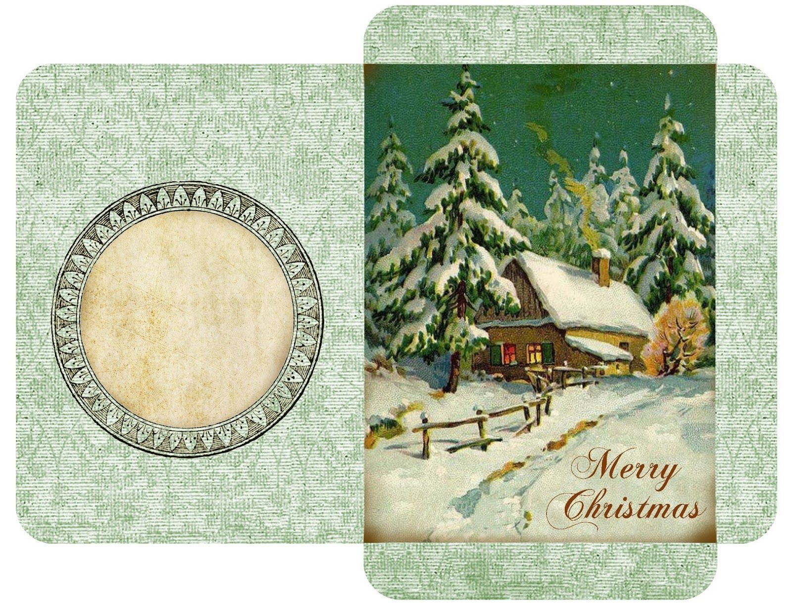 """Vintage Christmas gift card envelopes ~ Winter cottage with """"Merry Christmas"""" bottom right."""