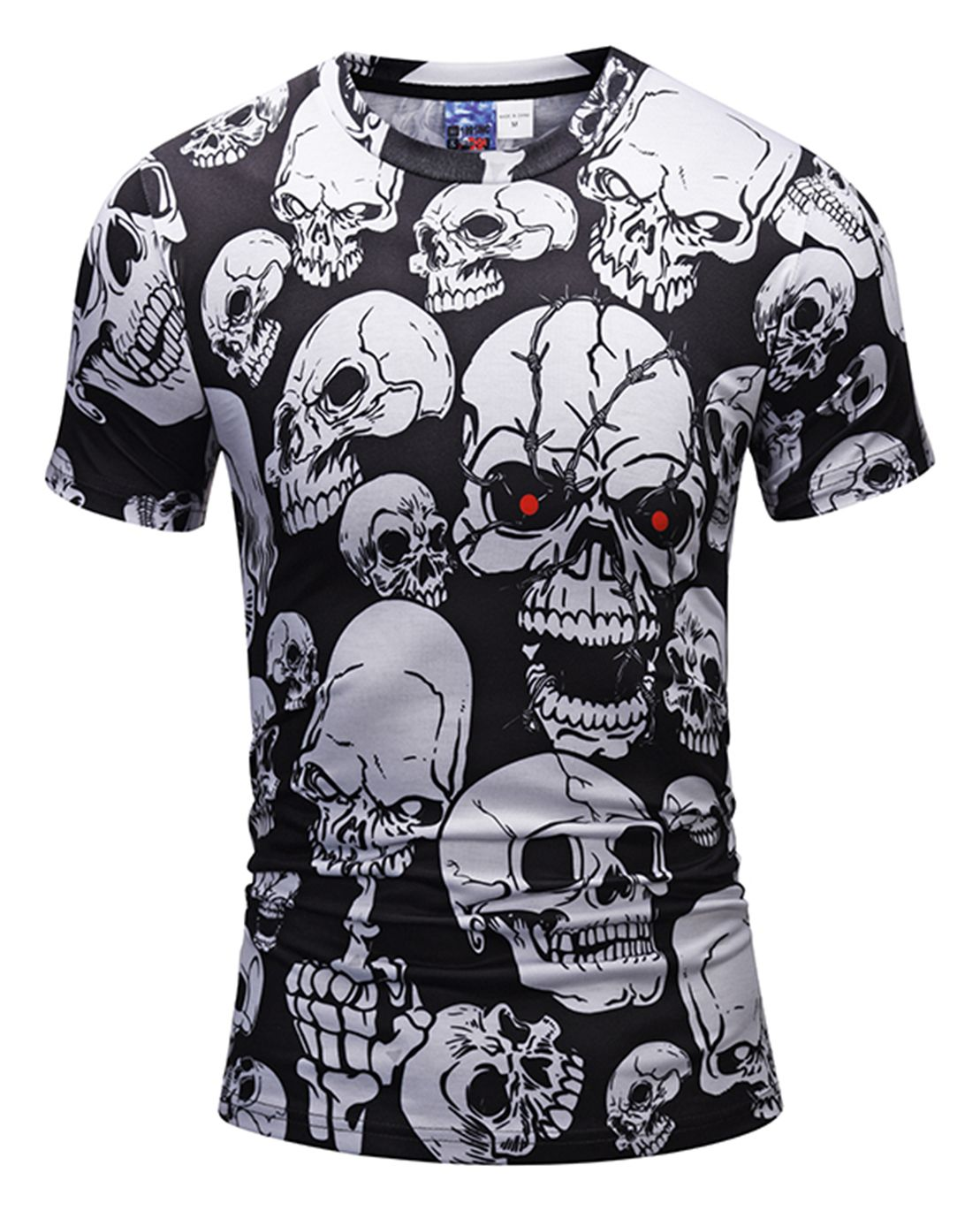 PHILIPP PLEIN T-shirt Black White Skull Anti-Collar Men Casual Tee M-3XL