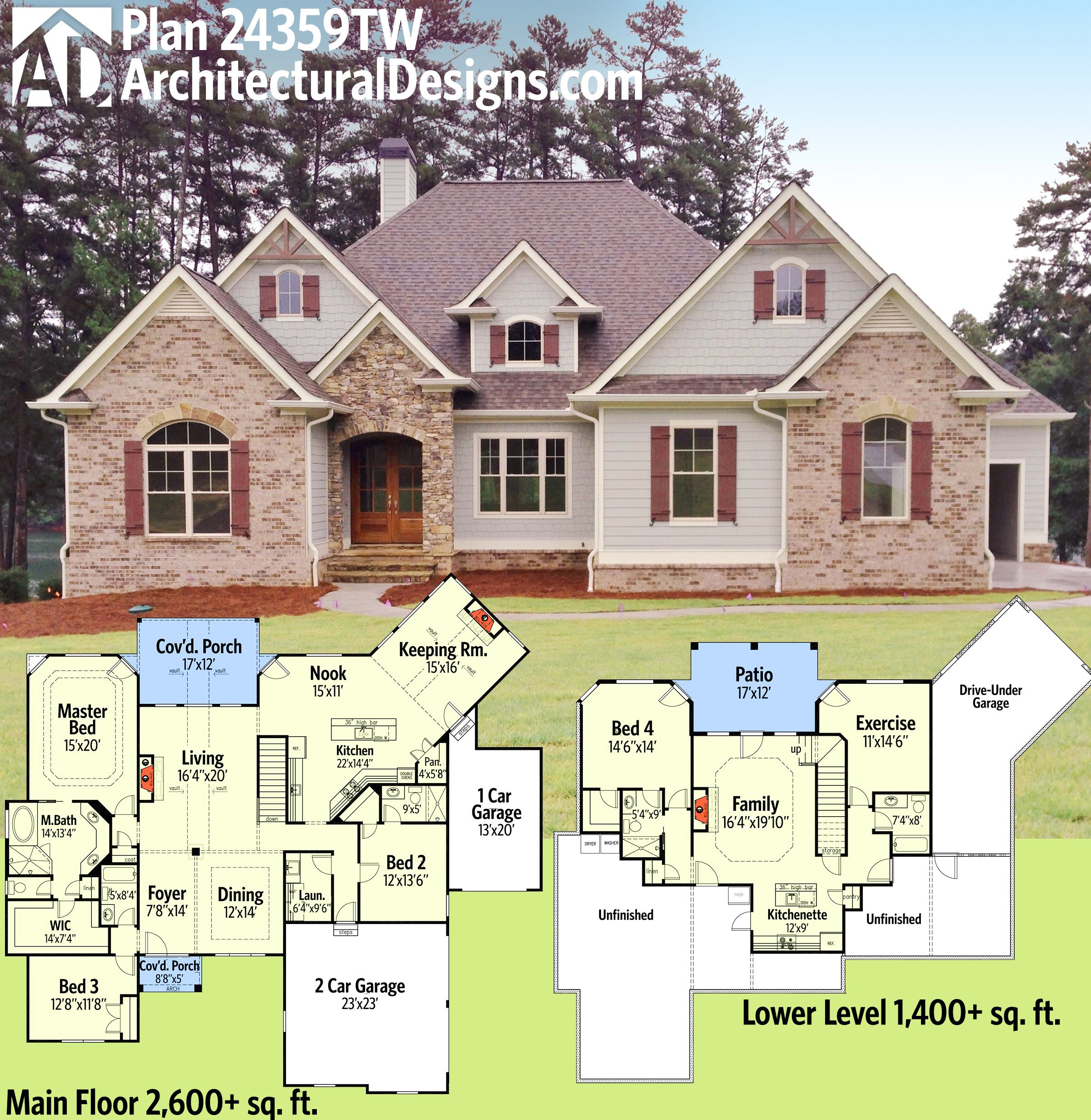 Architectural designs house plan 24359tw gives you 3 beds for 2600 sq ft house plans