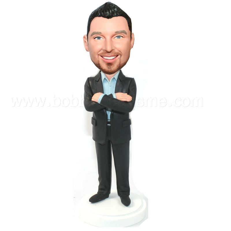 Arms Cross No Tie Black Suit Groomsmen Bobblehead