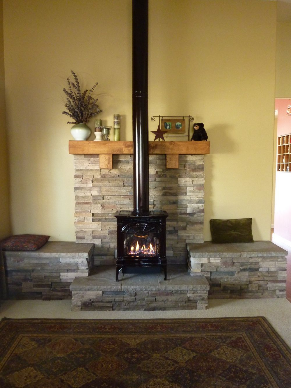 Propane fireplace we had this hearth built to give more for New construction wood burning fireplace