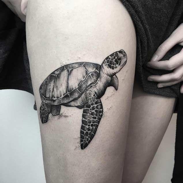 Black And White Realistic Sea Turtle Tattoo, Pin