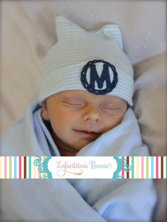 PERSONALIZED MONOGRAM CUSTOM Baby Newborn Hospital Hat Cap Beanie Blue Monkey