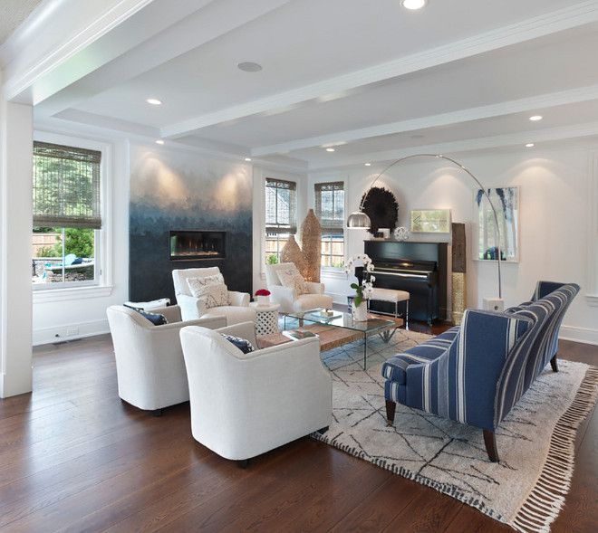 9 Stylish Tray Ceiling Ideas For Different Rooms: Ombre Fireplace. The Living Room Offers A Transitional