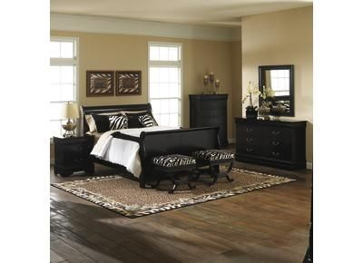 Badcock Furniture Carrington Bedroom (Queen) Sleigh Bed In Black No Zebra  Though