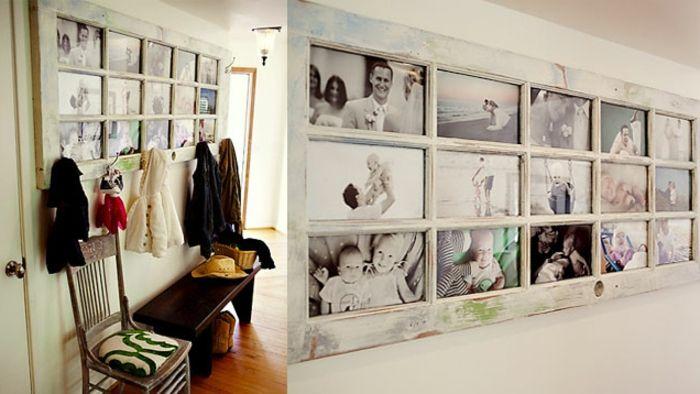 Idee Für Fotowand alter weißer tür in fotorahmen verwandeln fotowand flur wanddeko
