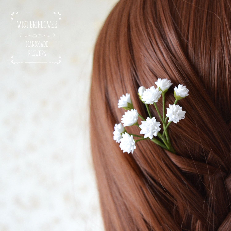 Babys Breath Hair Pins Bridesmaid Headpiece Gypsophila Wedding Hair