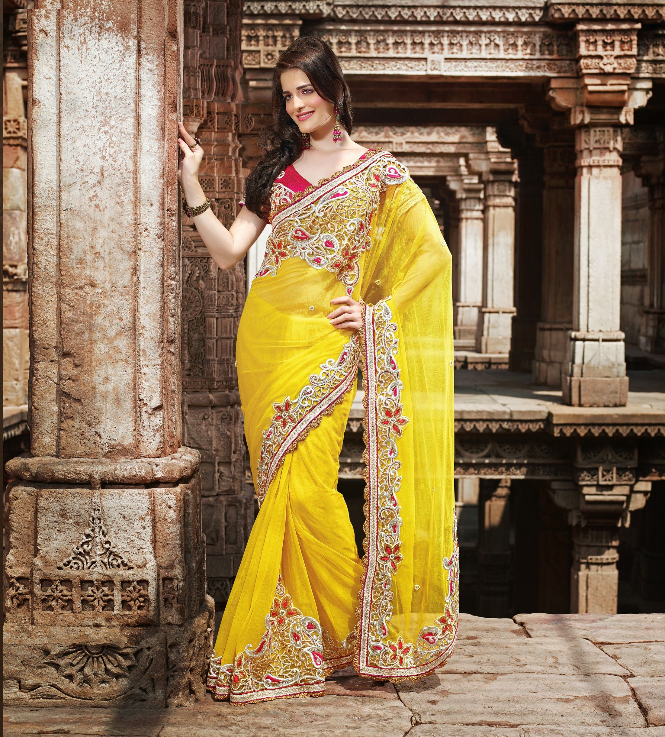 acfb541d88 #Yellow #Net #Saree with Zari, Resham Embroidery, Cutwork, Stone, Moti and  Gotta Patti work with Heavy Border and Jewellery pattern.