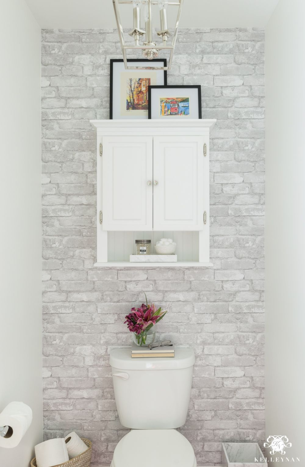 Toilet Room Makeover Reveal and Clever Bathroom Storage - Kelley Nan ...