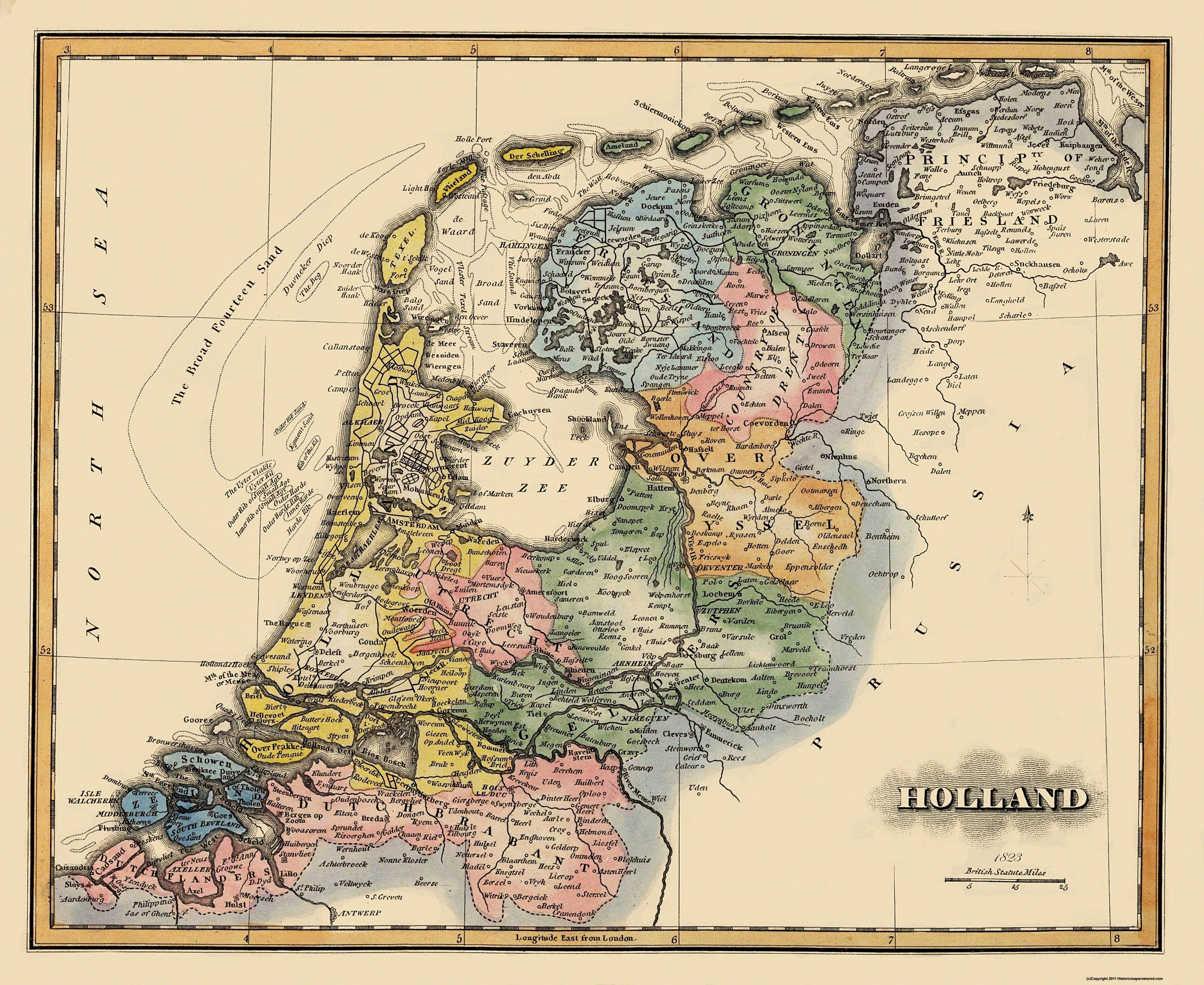 Old Netherland Map Holland Lucas 1823