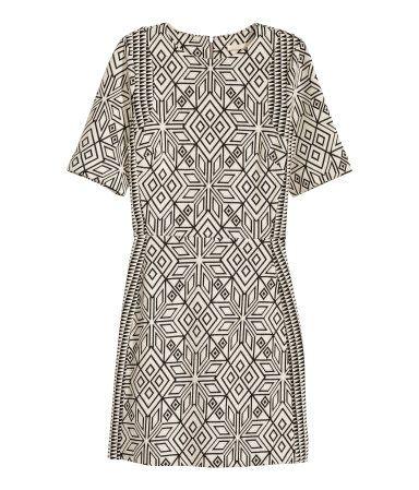 Jakardikuvioinen mekko | Luonnonvalkoinen/Kuviollinen | Ladies | H&M FI