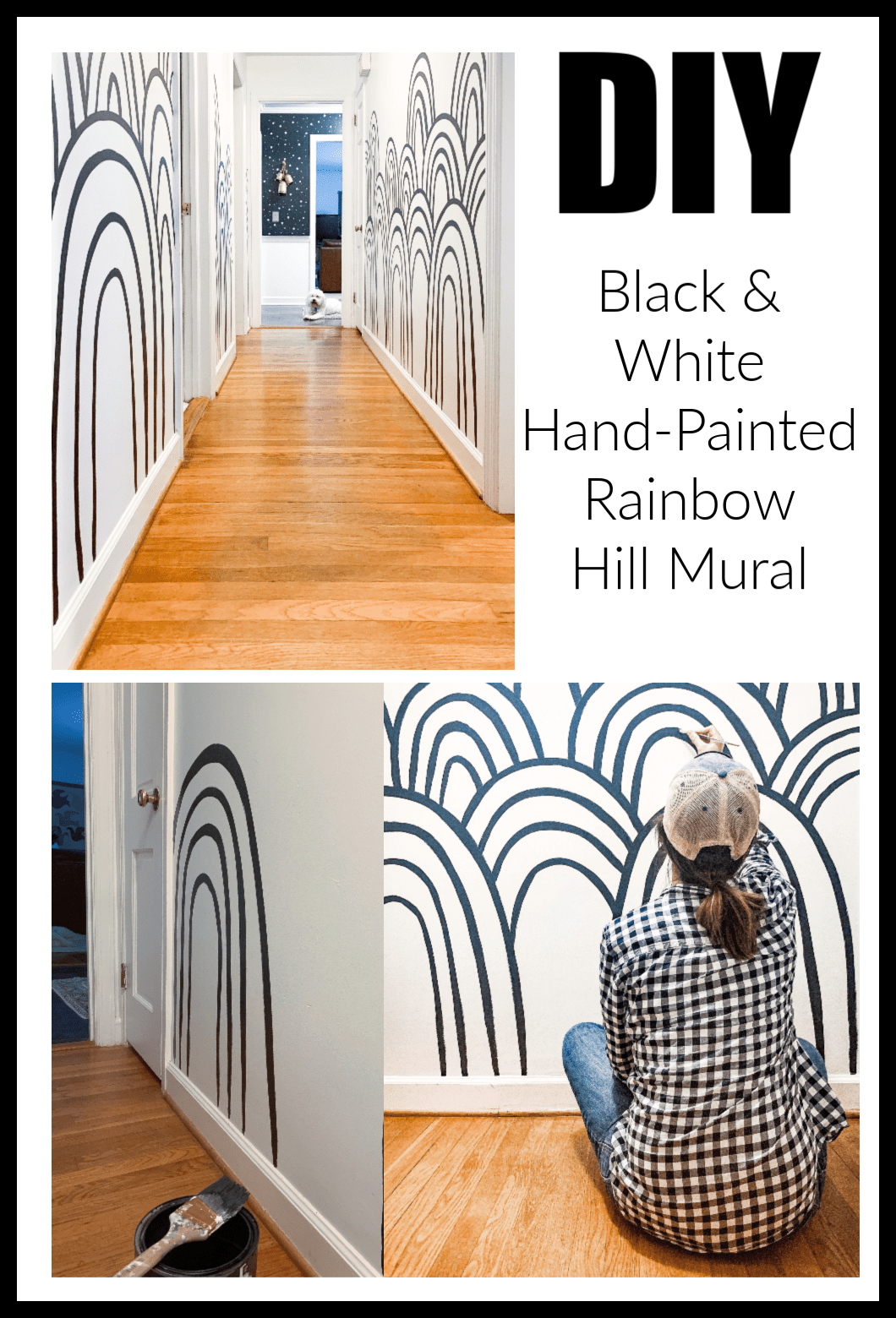 Diy Hand Painted Black And White Rainbow Hills Mural Mural Hand