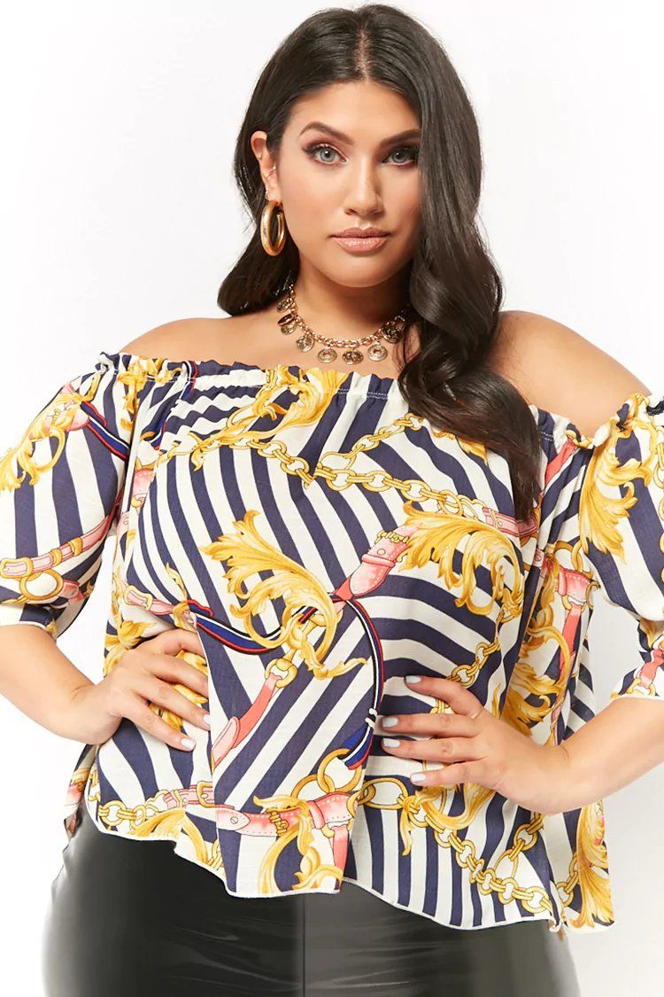 2ba18a5ae4c Product Name Plus Size Printed Off-the-Shoulder Top