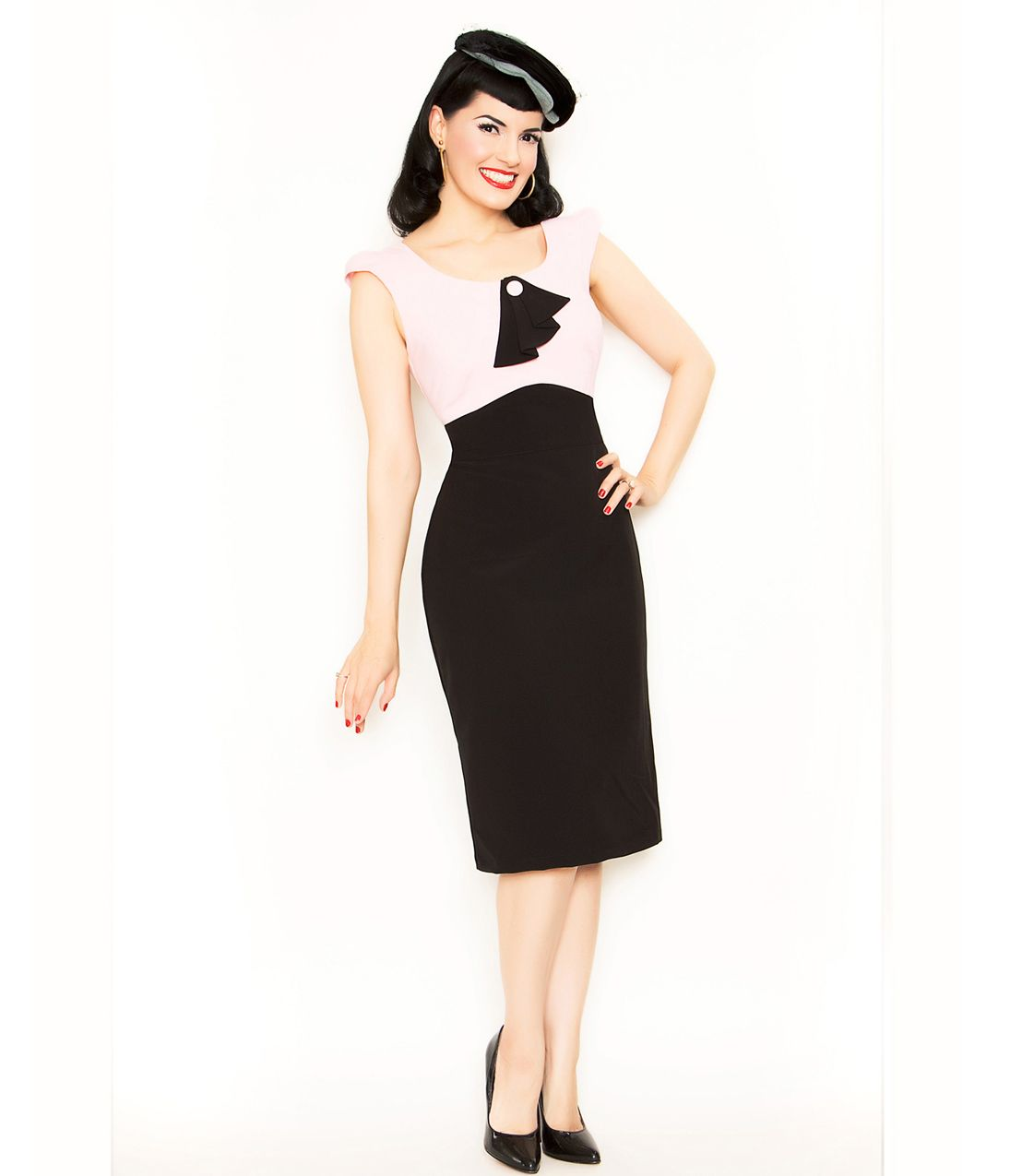 Black u pink dainty eve wiggle dress unique vintage cocktail