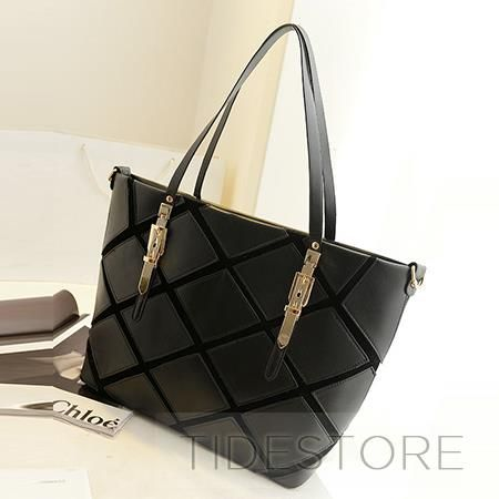 Fashion Split Grain Solid Metal Shoulder Bag