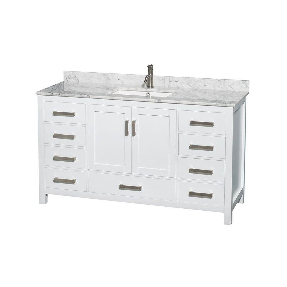Wyndham Collection Sheffield 60 In Vanity In White With Marble