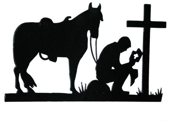 "COWBOY PRAYING SYMBOLIC Vinyl Decal Sticker-6/"" Wide White Color"